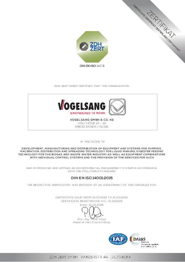 Certificate ISO 14001:2015 of Vogelsang