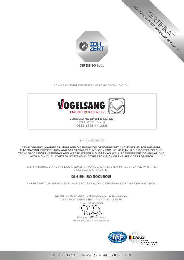 Certificate ISO 9001:2015 of Vogelsang