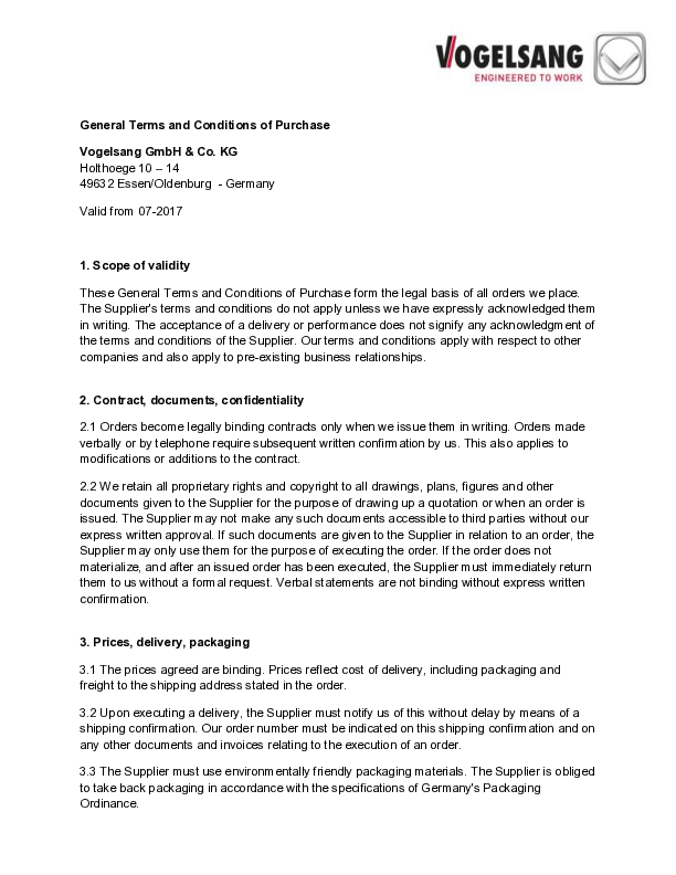 General Terms and Conditions of Purchase of Vogelsang